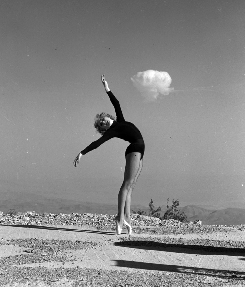 Sally McCloskey doing the Atomic Ballet at Angel Peak.