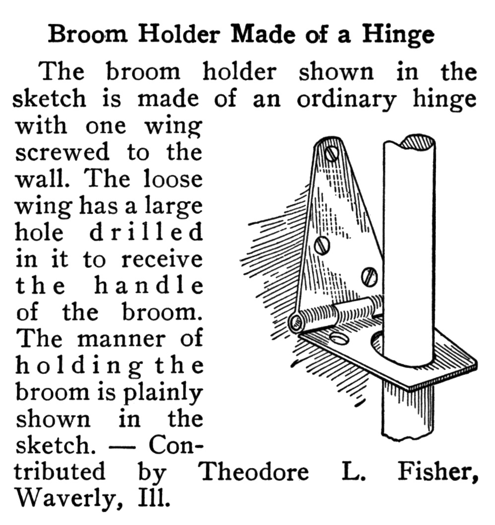 Boy Mechanic - Broom Holder Made Of A Hinge